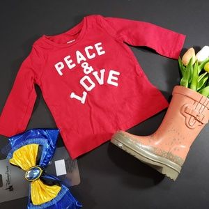 4/$25 Oshkosh Peace & Love Red Long Sleeved Shirt